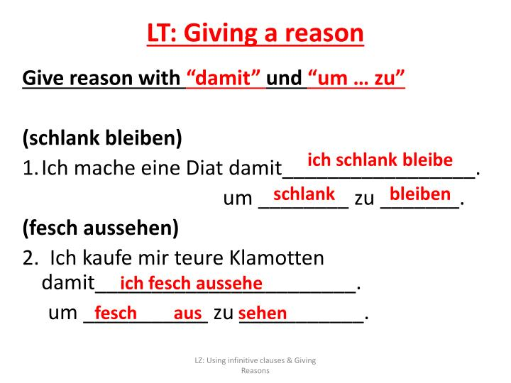 LT: Giving a reason