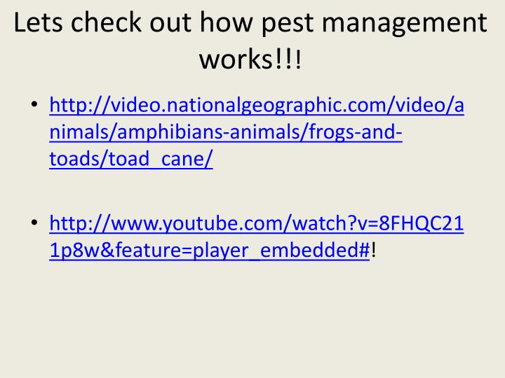 Lets check out how pest management works!!