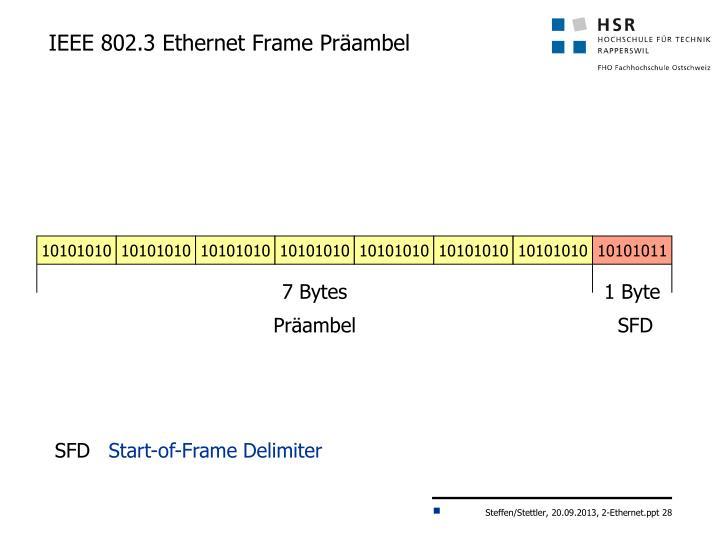 IEEE 802.3 Ethernet Frame Präambel