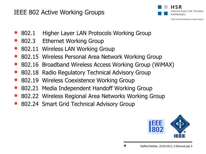 IEEE 802 Active Working Groups