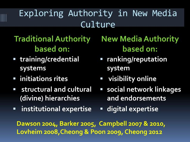 Exploring Authority in New Media Culture