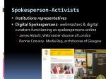 spokesperson activists