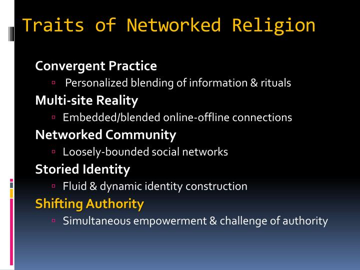 Traits of Networked Religion