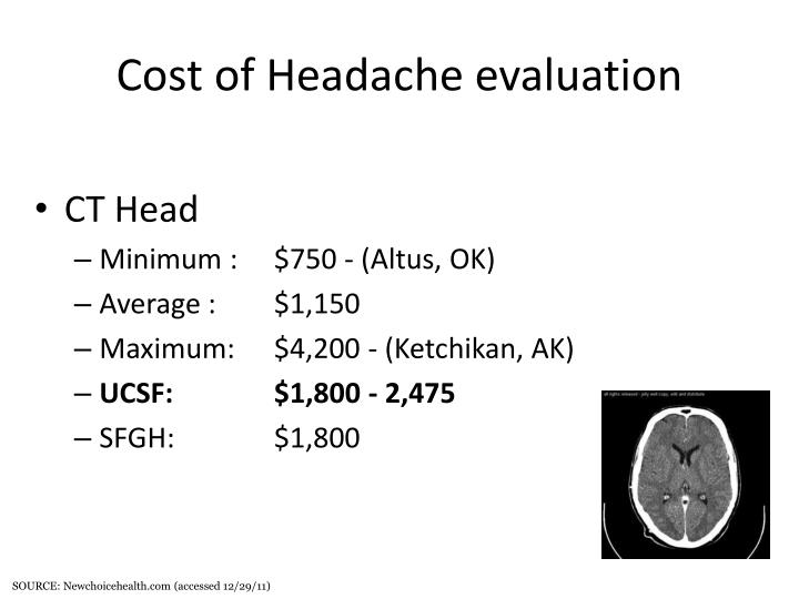 Cost of Headache evaluation