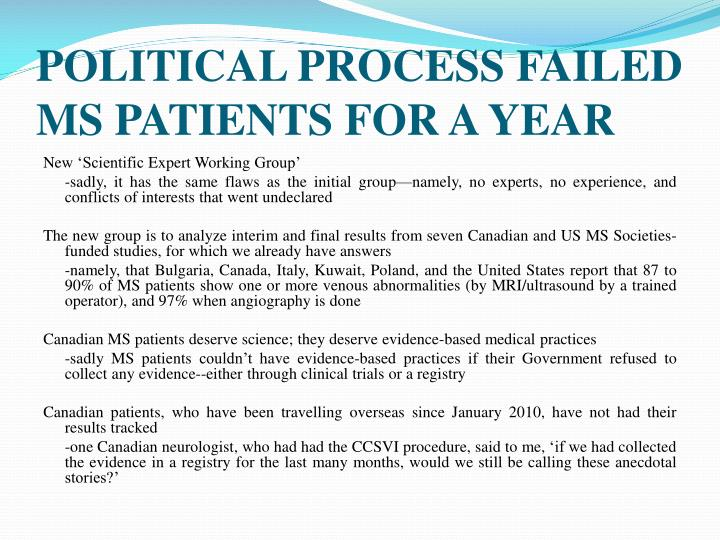 POLITICAL PROCESS FAILED MS PATIENTS FOR A YEAR