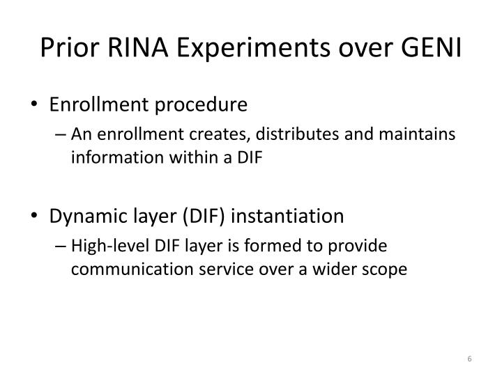 Prior RINA Experiments over GENI