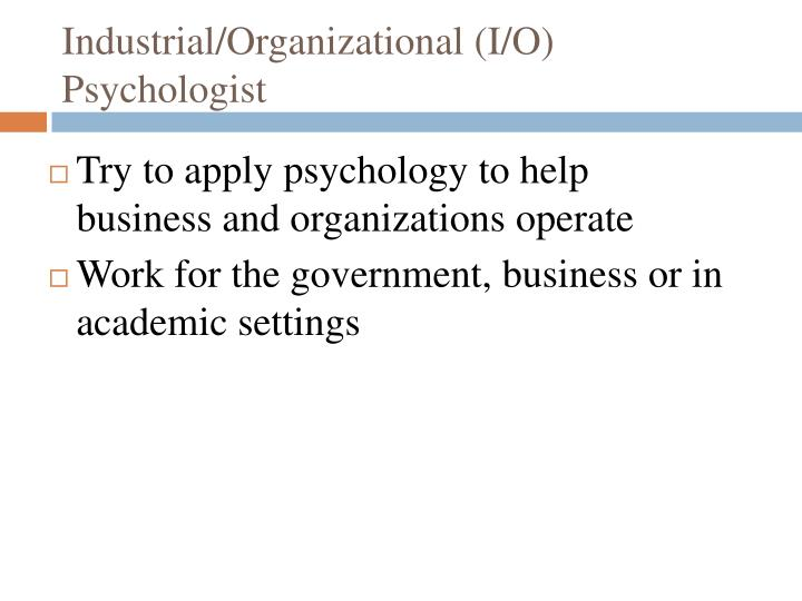 Industrial/Organizational (I/O) Psychologist