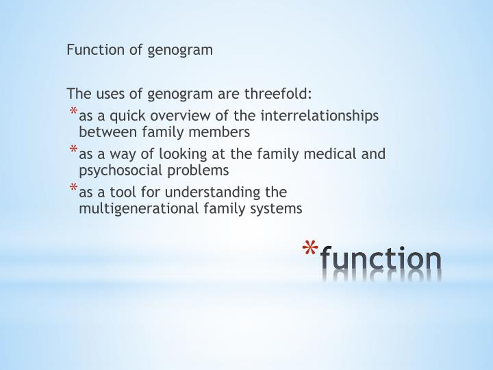 Function of genogram