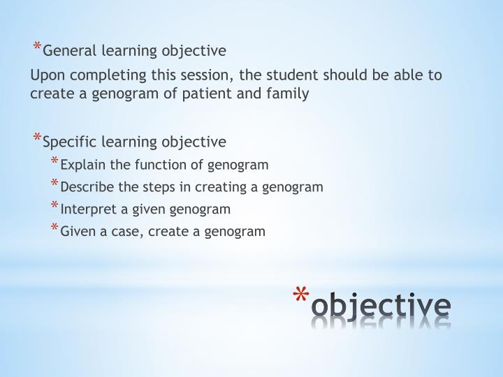 General learning objective