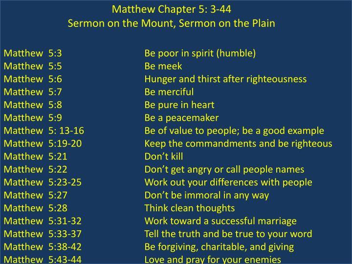 Matthew Chapter 5: 3-44