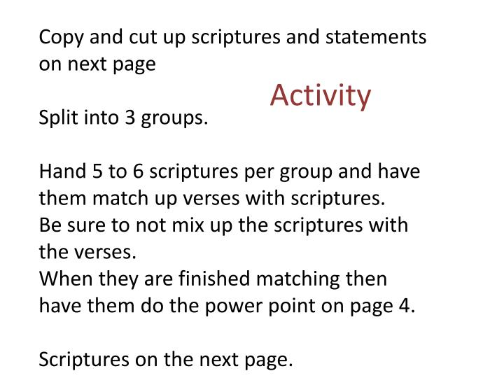 Copy and cut up scriptures and