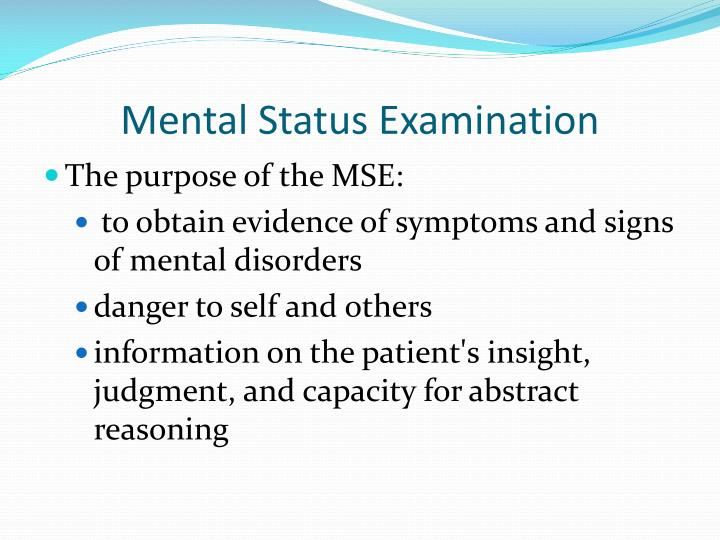 Mental Status Examination PowerPoint Presentation