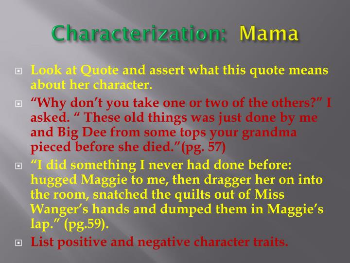 characterization in alice walkers short story everyday use