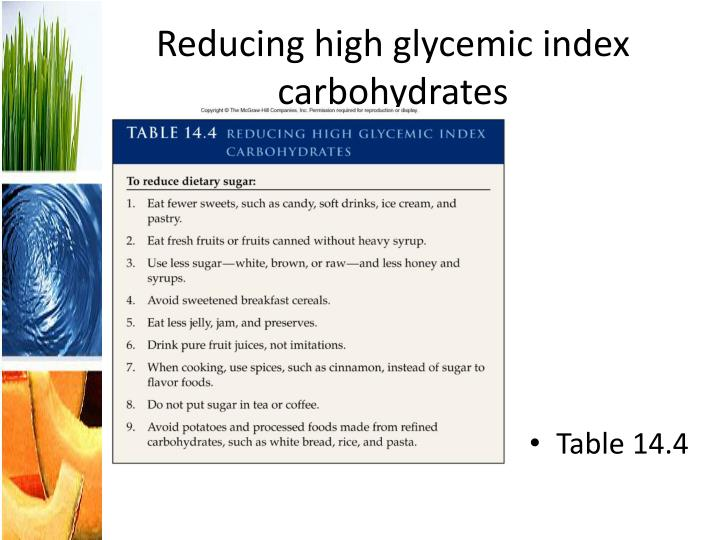 Reducing high glycemic index carbohydrates