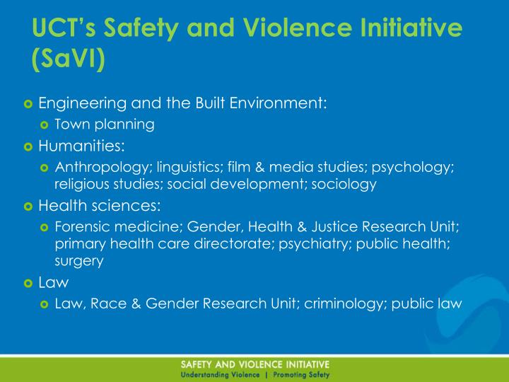UCT's Safety and Violence Initiative (