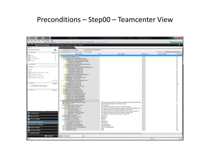 Preconditions step00 teamcenter view