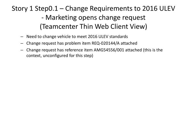 Story 1 Step0.1 – Change Requirements to 2016 ULEV - Marketing opens change request