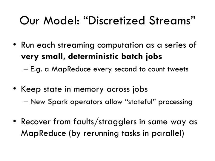 "Our Model: ""Discretized Streams"""