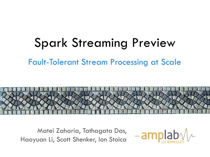 Spark streaming preview
