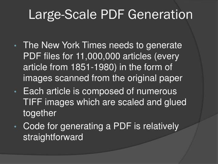 Large-Scale PDF Generation