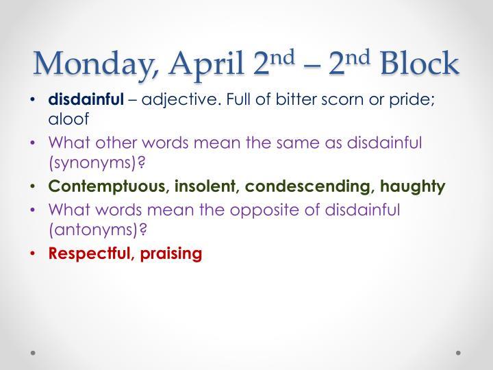 Monday, April 2