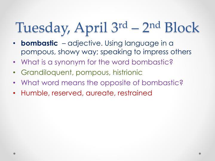 Tuesday, April 3
