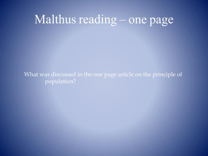 Malthus reading – one page