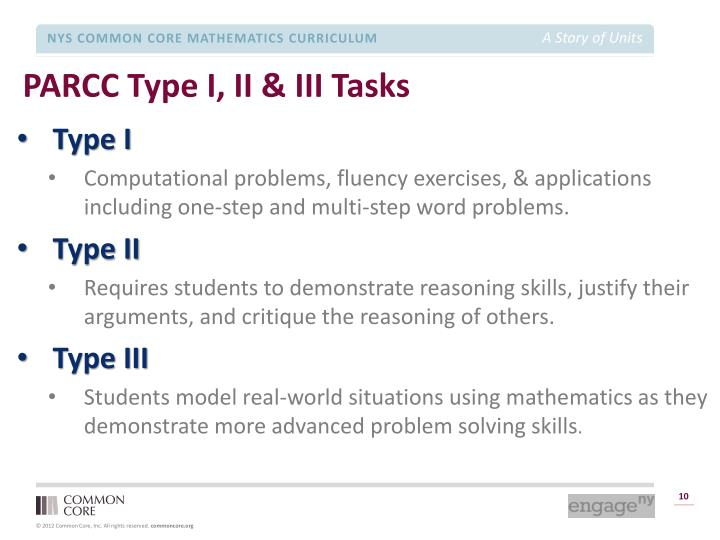 PARCC Type I, II & III Tasks