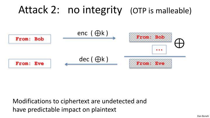 Attack 2:   no integrity