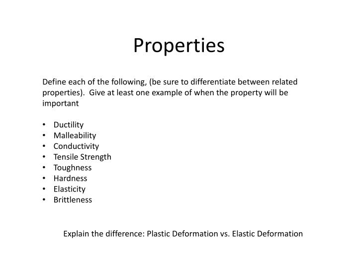 Define each of the following, (be sure to differentiate between related properties).  Give at least one example of when the property will