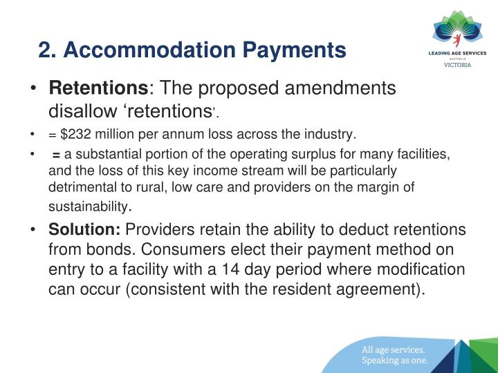 2. Accommodation Payments