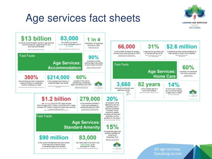 Age services fact sheets