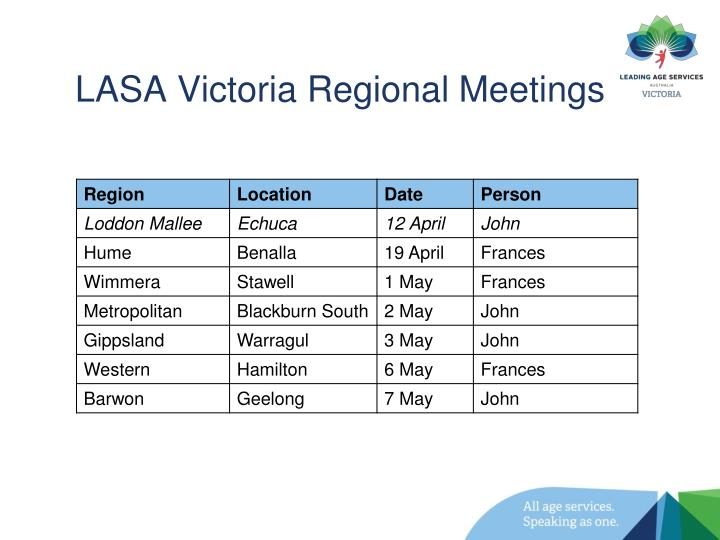 LASA Victoria Regional Meetings