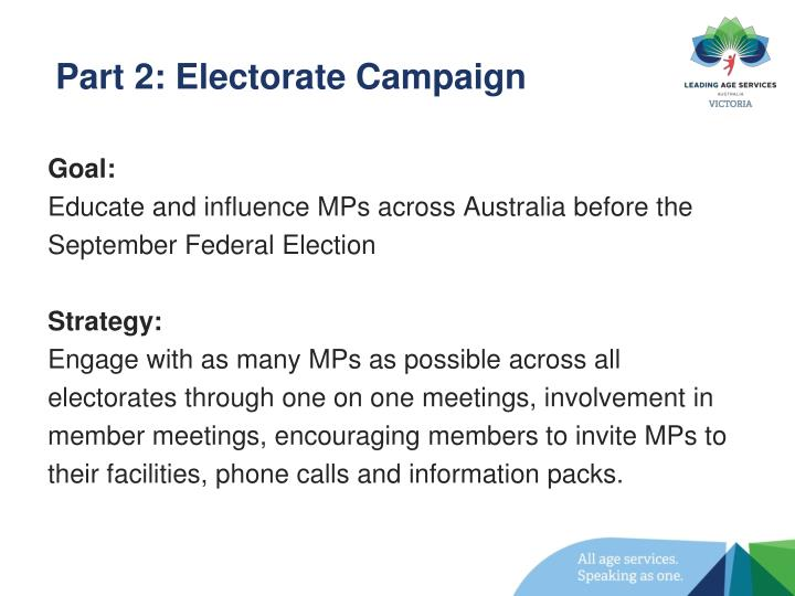 Part 2: Electorate Campaign