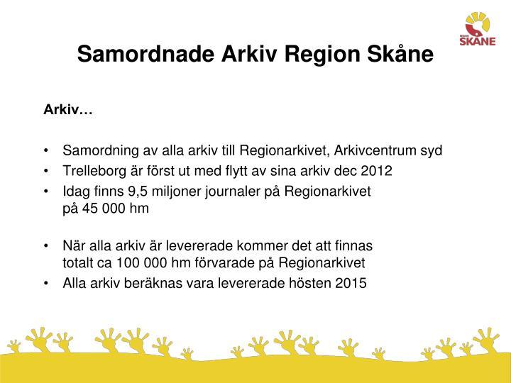 Samordnade Arkiv Region Skåne