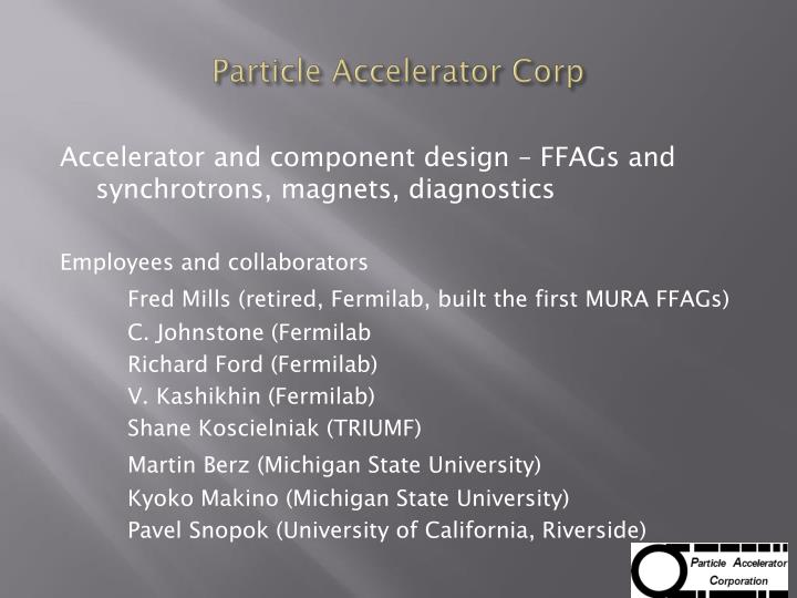 Particle accelerator corp