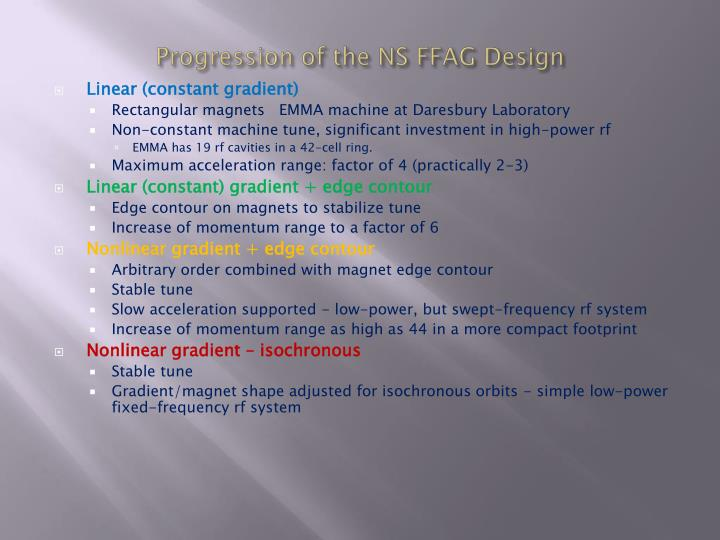 Progression of the NS FFAG Design