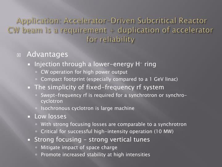 Application: Accelerator-Driven Subcritical Reactor