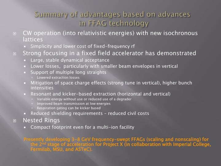 Summary of advantages based on advances