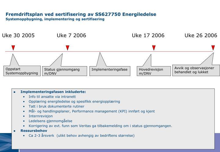 Fremdriftsplan ved sertifisering av SS627750 Energiledelse