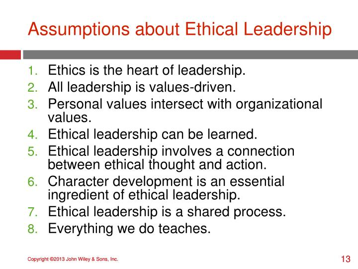 Assumptions about Ethical Leadership