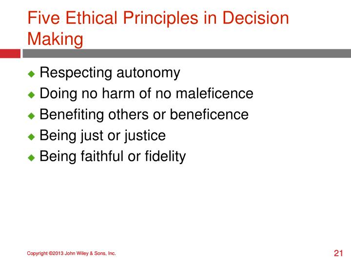 Five Ethical Principles in Decision Making