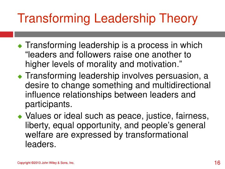 Transforming Leadership Theory