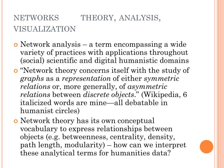 Networks theory analysis visualization