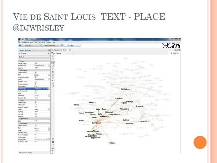 Vie de Saint Louis  TEXT - PLACE @