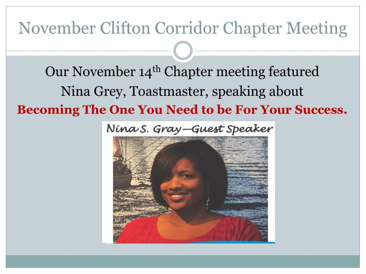 November clifton corridor chapter meeting