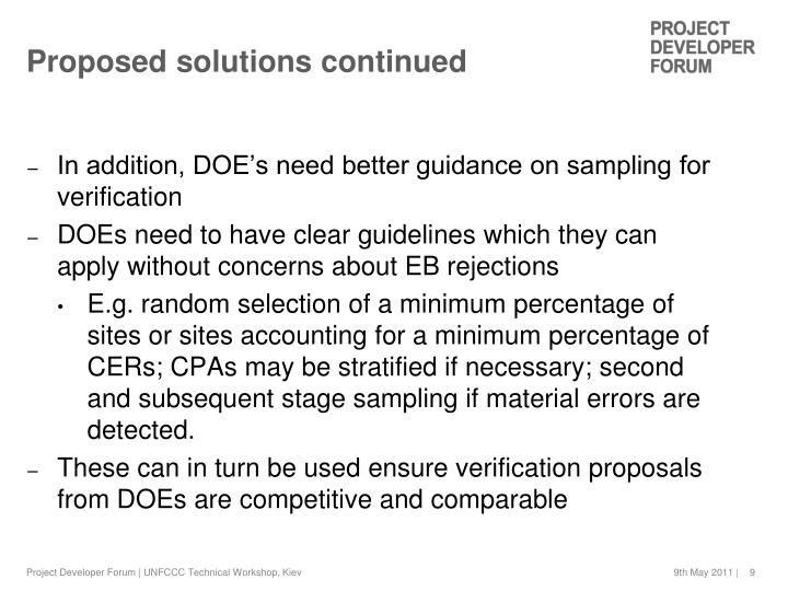 Proposed solutions continued