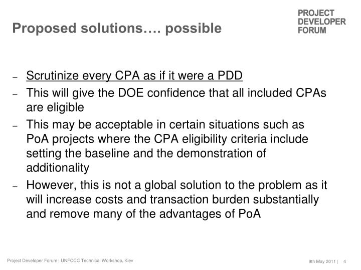 Proposed solutions…. possible