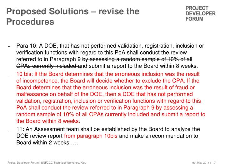 Proposed Solutions – revise the Procedures