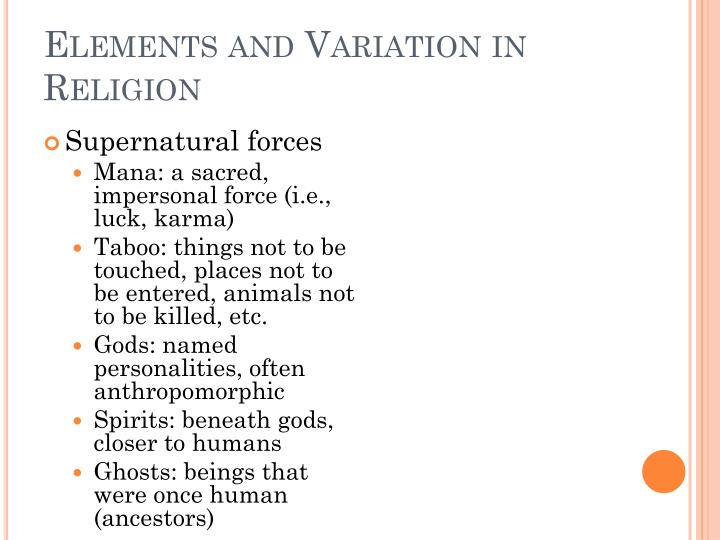 Elements and Variation in Religion